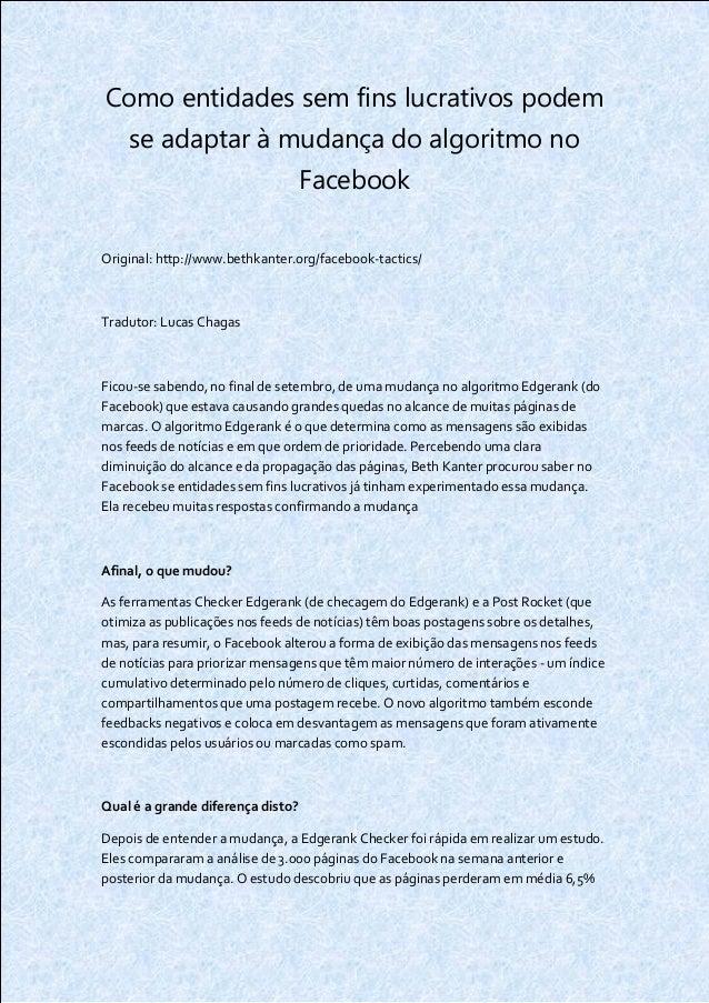 Como entidades sem fins lucrativos podem    se adaptar à mudança do algoritmo no                                   Faceboo...