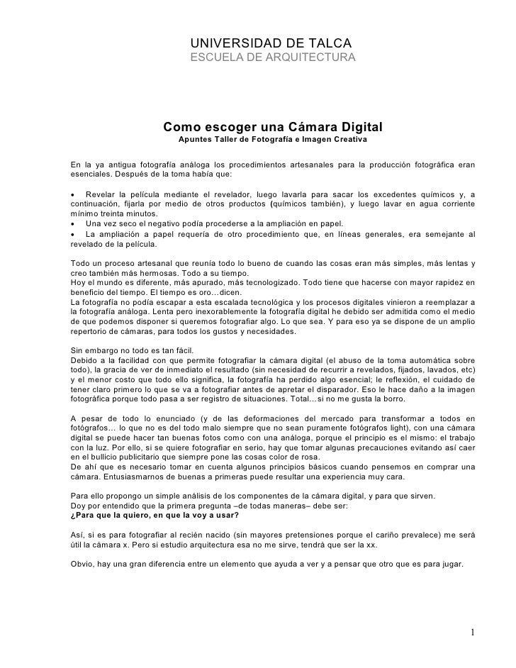UNIVERSIDAD DE TALCA                                  ESCUELA DE ARQUITECTURA                              Como escoger un...