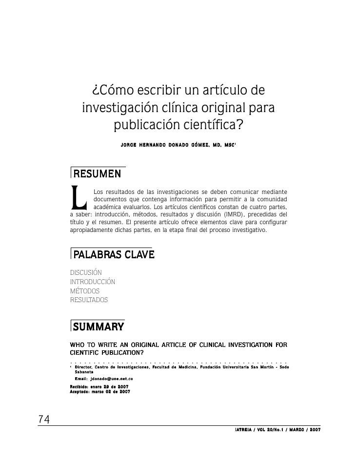¿Cómo escribir un artículo de                 investigación clínica original para                      publicación científ...