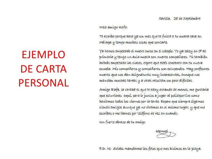 como escribir una carta personal