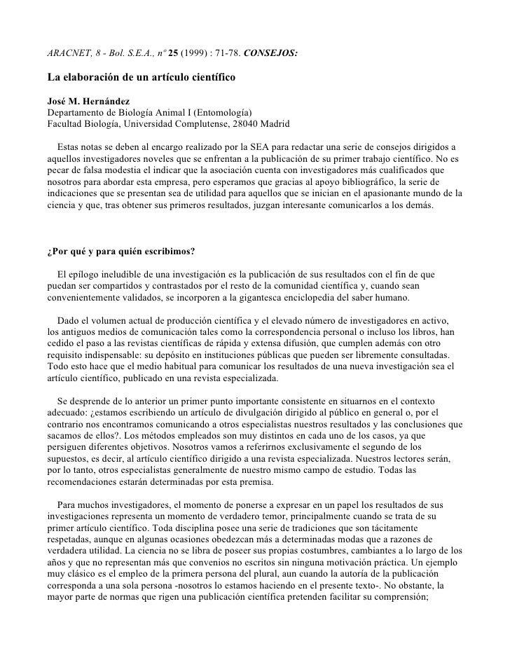 ARACNET, 8 - Bol. S.E.A., nº 25 (1999) : 71-78. CONSEJOS:  La elaboración de un artículo científico  José M. Hernández Dep...