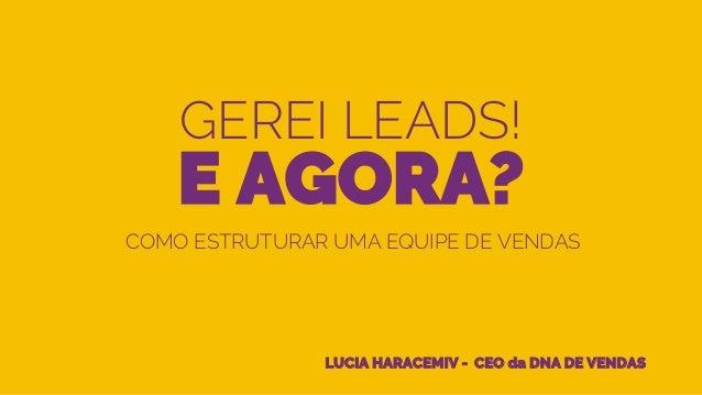 GEREI LEADS! E AGORA? LUCIA HARACEMIV - CEO da DNA DE VENDAS COMO ESTRUTURAR UMA EQUIPE DE VENDAS