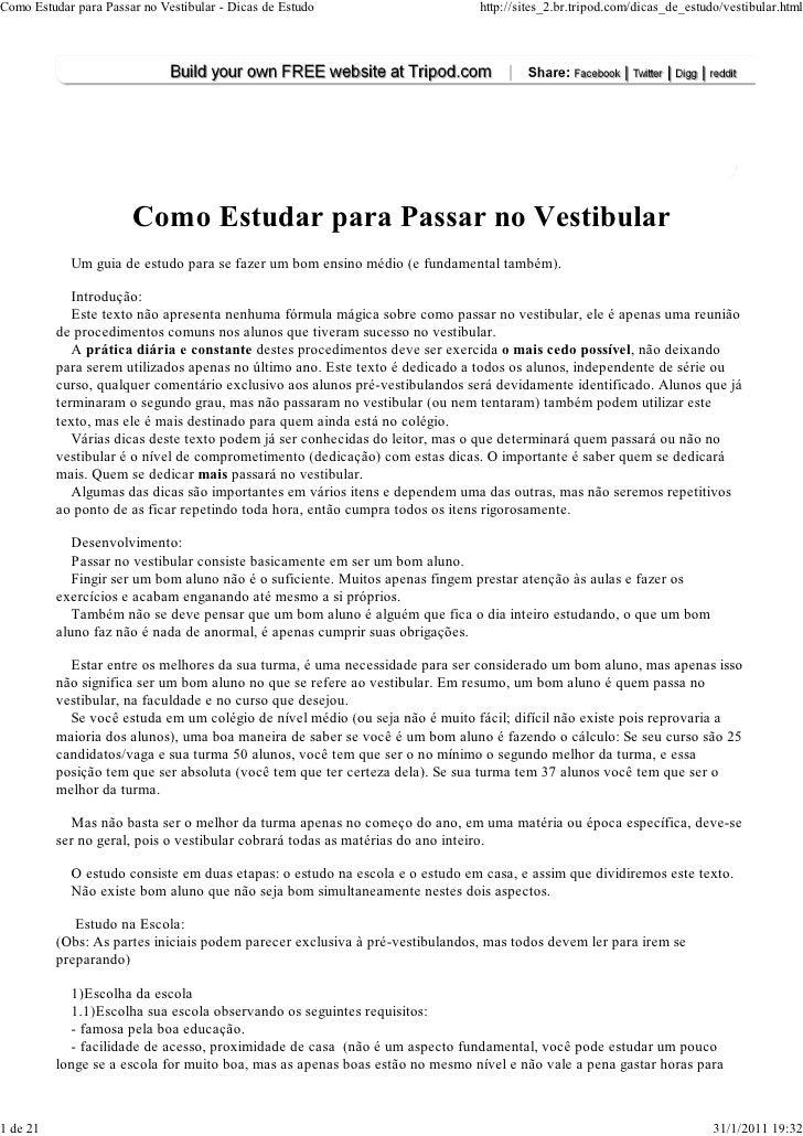 Como Estudar para Passar no Vestibular - Dicas de Estudo                      http://sites_2.br.tripod.com/dicas_de_estudo...