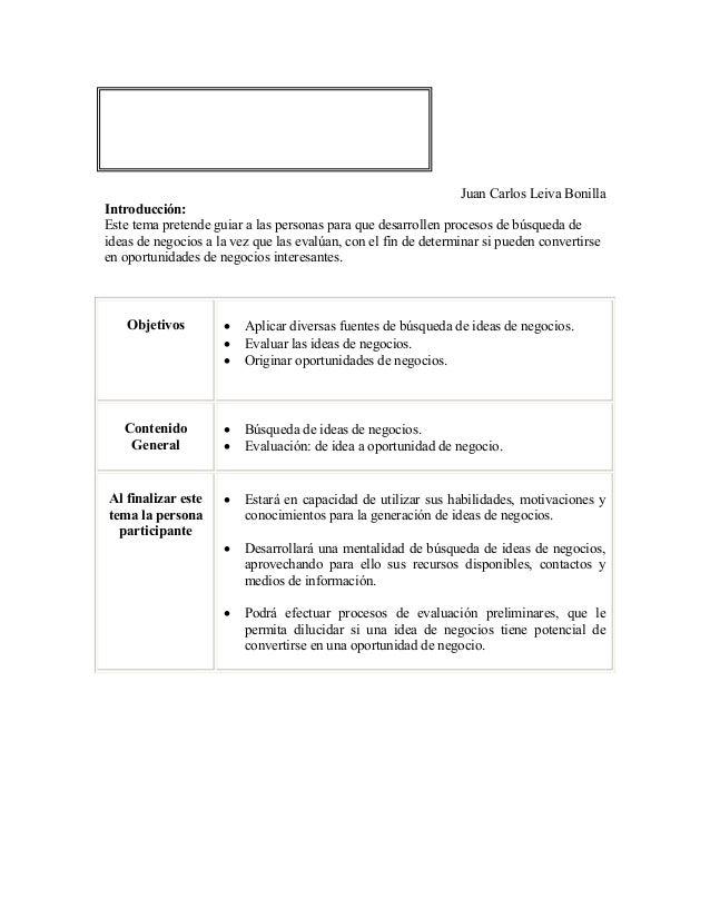 CAPÍTULO 2: GENERACIÓN YEVALUACIÓN DE OPORTUNIDADES DENEGOCIOS                                                            ...
