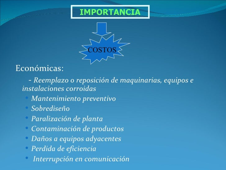 IMPORTANCIA                     COSTOSEconómicas:   - Reemplazo o reposición de maquinarias, equipos e  instalaciones corr...
