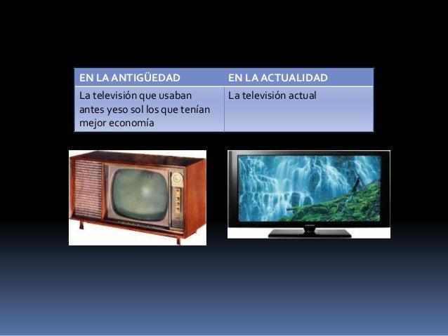 EN LA ANTIGÜEDAD EN LA ACTUALIDADLa televisión que usabanantes yeso sol los que teníanmejor economíaLa televisión actual