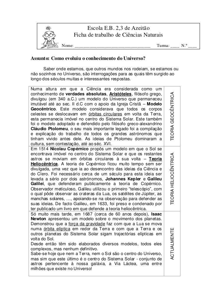 Escola E.B. 2,3 de Azeitão                      Ficha de trabalho de Ciências Naturais                Nome: ______________...