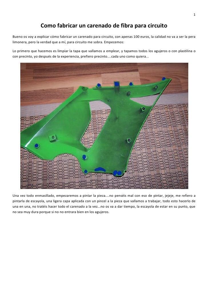 Como Fabricar Un Carenado De Fibra Para Circuito Kawaman