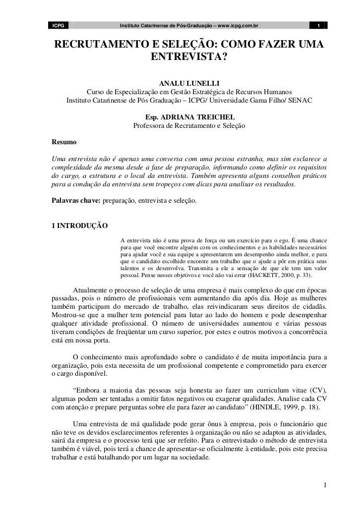 ICPG                   Instituto Catarinense de Pós-Graduação – www.icpg.com.br                    1RECRUTAMENTO E SELEÇÃO...