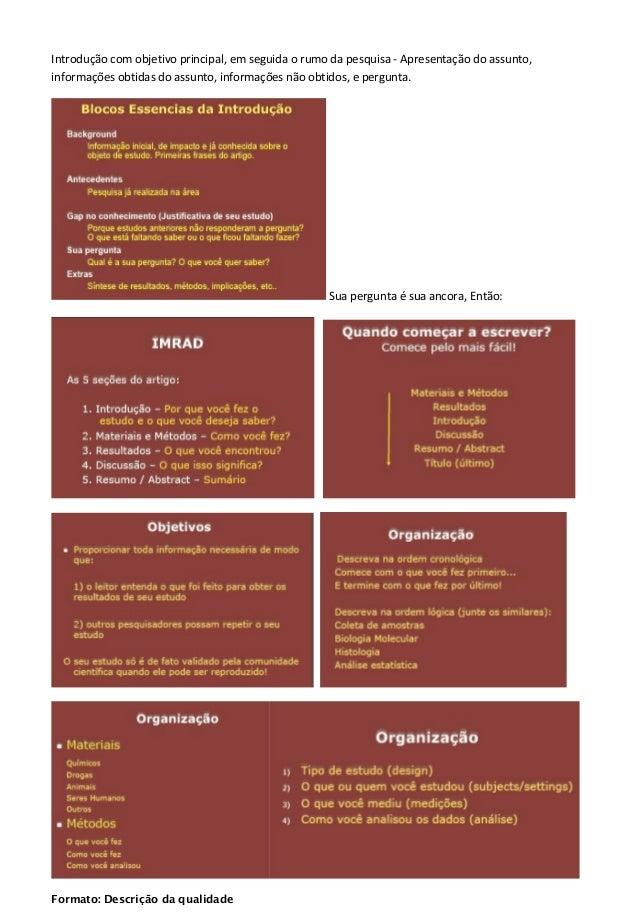 Introdução com objetivo principal, em seguida o rumo da pesquisa - Apresentação do assunto, informações obtidas do assunto...