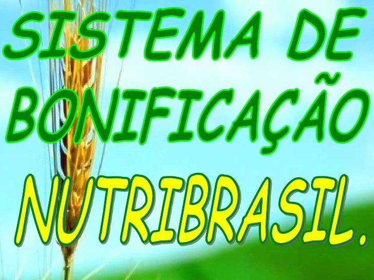 SISTEMA DE<br />BONIFICAÇÃO<br /> NUTRIBRASIL.<br />