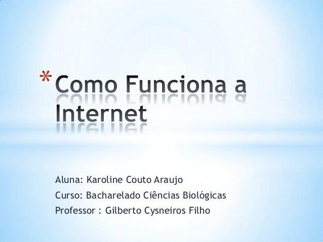 *    Aluna: Karoline Couto Araujo    Curso: Bacharelado Ciências Biológicas    Professor : Gilberto Cysneiros Filho