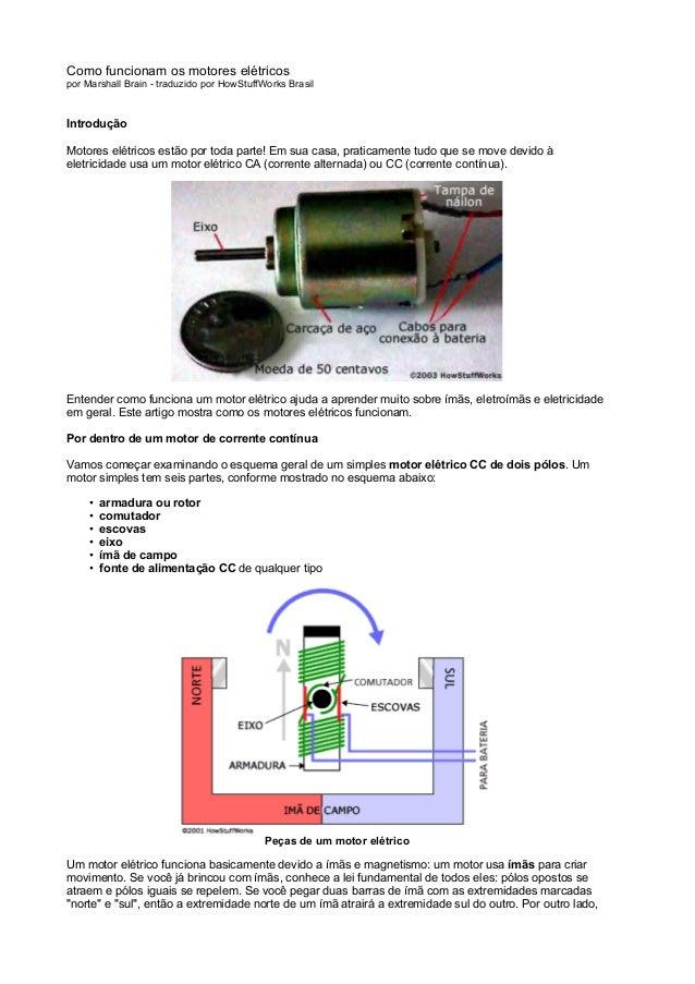 Como funcionam os motores elétricospor Marshall Brain - traduzido por HowStuffWorks BrasilIntroduçãoMotores elétricos estã...