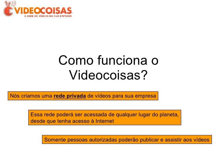 Como funciona o Videocoisas? Nós criamos uma  rede privada  de vídeos para sua empresa Essa rede poderá ser acessada de qu...