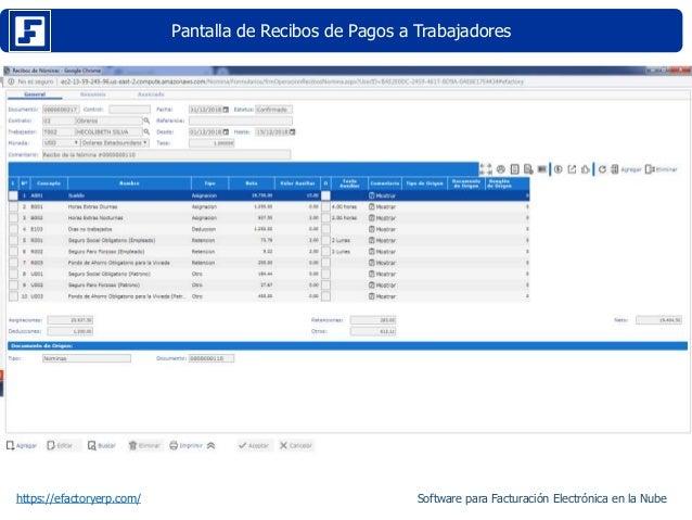 Pantalla de Recibos de Pagos a Trabajadores https://efactoryerp.com/ Software para Facturación Electrónica en la Nube