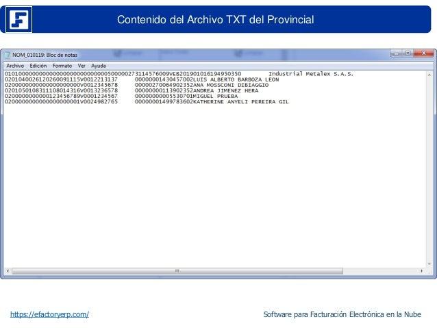 Contenido del Archivo TXT del Provincial https://efactoryerp.com/ Software para Facturación Electrónica en la Nube