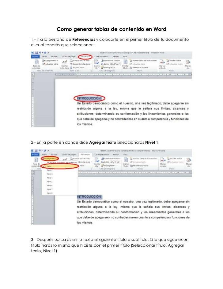 Como generar tablas de contenido en Word1.- Ir a la pestaña de Referencias y colocarte en el primer título de tu documento...