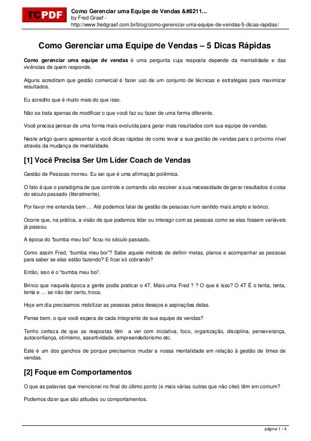 Como Gerenciar uma Equipe de Vendas &#8211... by Fred Graef - http://www.fredgraef.com.br/blog/como-gerenciar-uma-equipe-d...
