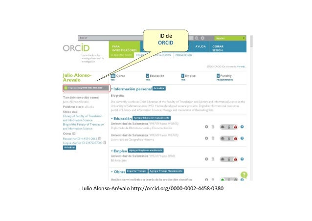 Tarea– CreatuperfilenORCID ORCID   Connecting Research and Researchers
