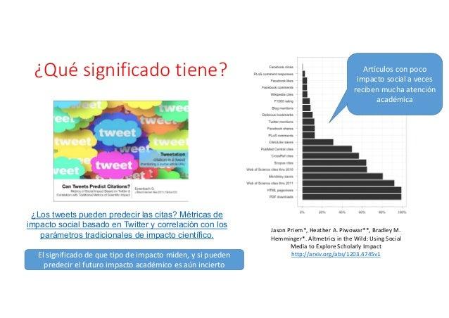 • Medidas de medios sociales índica como un investigador está promoviendo su trabajo • Esto es especialmente importante pa...