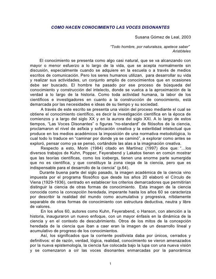 COMO HACEN CONOCIMIENTO LAS VOCES DISONANTES                                                           Susana Gómez de Lea...
