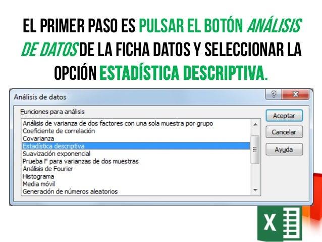 Como Hacer Estadistica Descriptiva Con Excel
