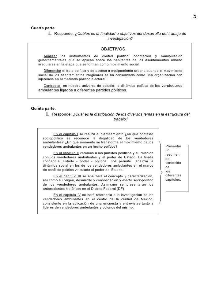 5Cuarta parte.        1. Responde: ¿Cuáles es la finalidad u objetivos del desarrollo del trabajo de                      ...