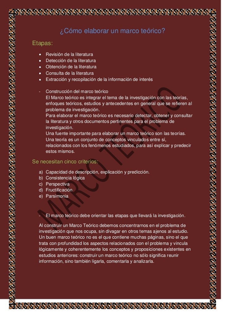 ¿Cómo elaborar un marco teórico?Etapas:       Revisión de la literatura       Detección de la literatura       Obtención d...