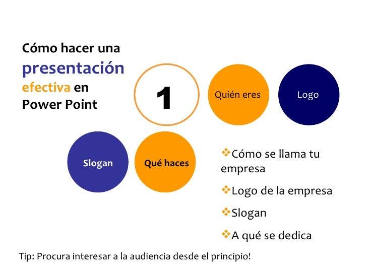 C ómo hacer una  presentación   efectiva  en  Power Point 1 Quién eres <ul><li>Cómo se llama tu empresa </li></ul><ul><li>...