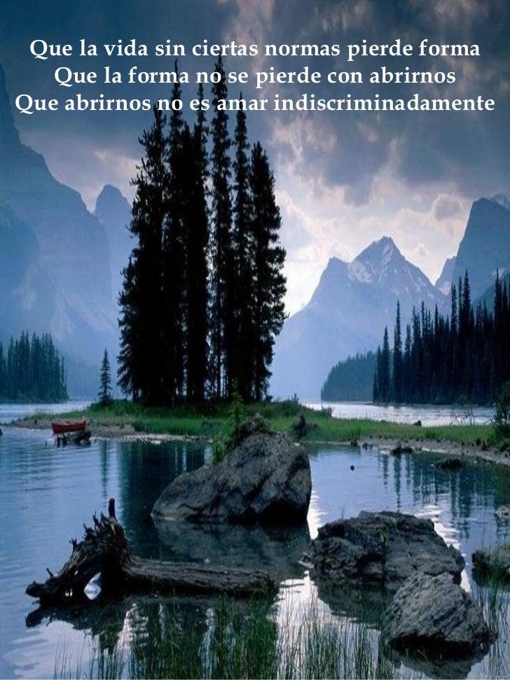 Que la vida sin ciertas normas pierde forma Que la forma no se pierde con abrirnos Que abrirnos no es amar indiscriminadam...