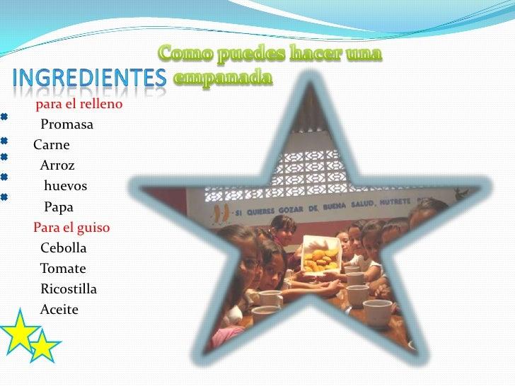 para el relleno PromasaCarne Arroz  huevos  PapaPara el guiso Cebolla Tomate Ricostilla Aceite