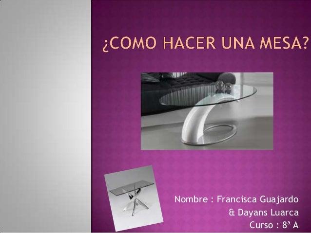 Nombre : Francisca Guajardo& Dayans LuarcaCurso : 8ª A