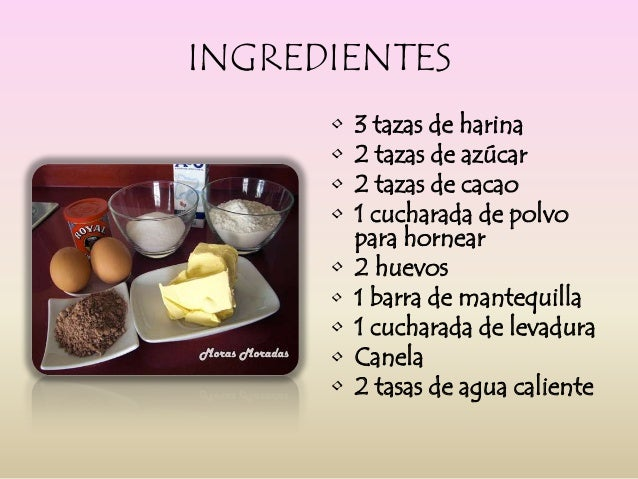 ingredientes para preparar una torta de chocolate