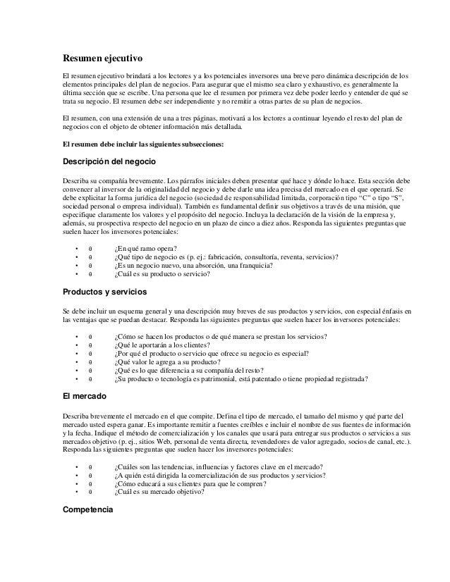 Ziemlich Resumn Sobre Idee De Negocio Fotos - Dokumentationsvorlage ...