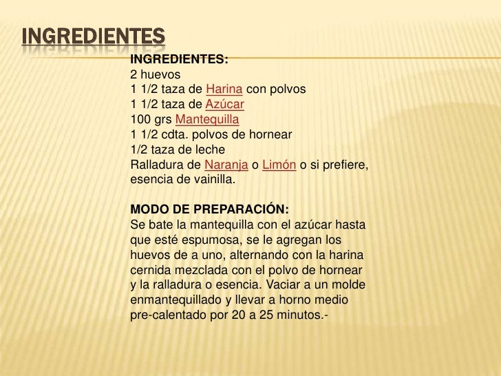 ingredientes para preparar un queque