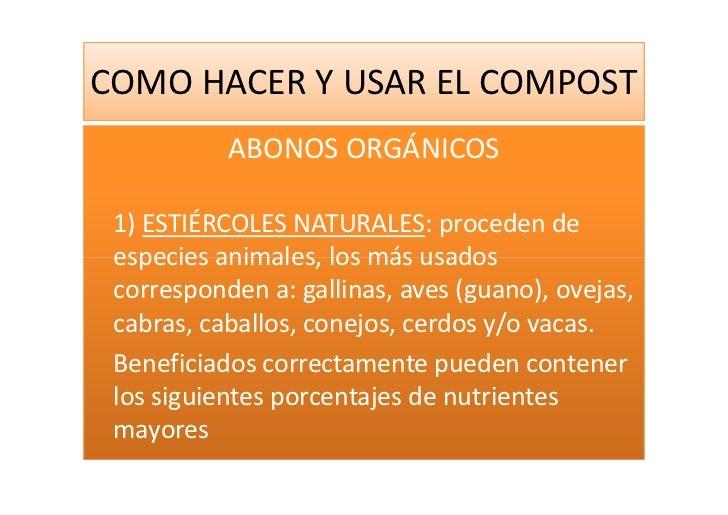 Como hacer y usar el compost - Hacer abono organico ...