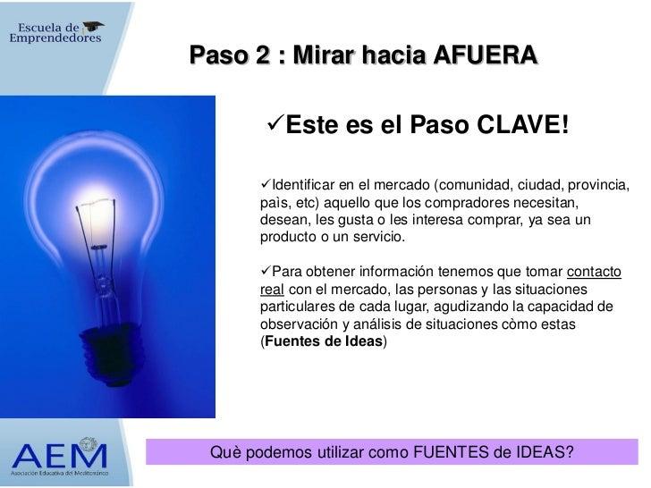 Paso 2 : Mirar hacia AFUERA       Este es el Paso CLAVE!      Identificar en el mercado (comunidad, ciudad, provincia,  ...