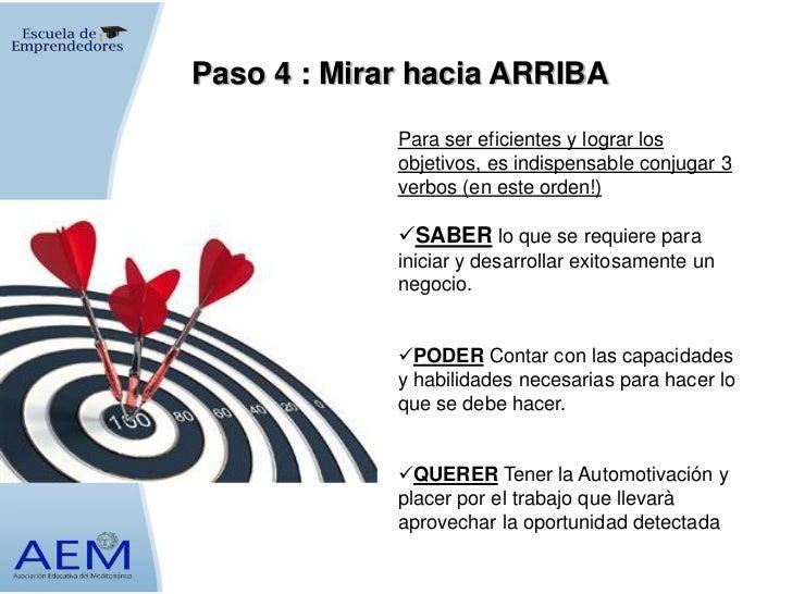 Paso 4 : Mirar hacia ARRIBA             Para ser eficientes y lograr los             objetivos, es indispensable conjugar ...