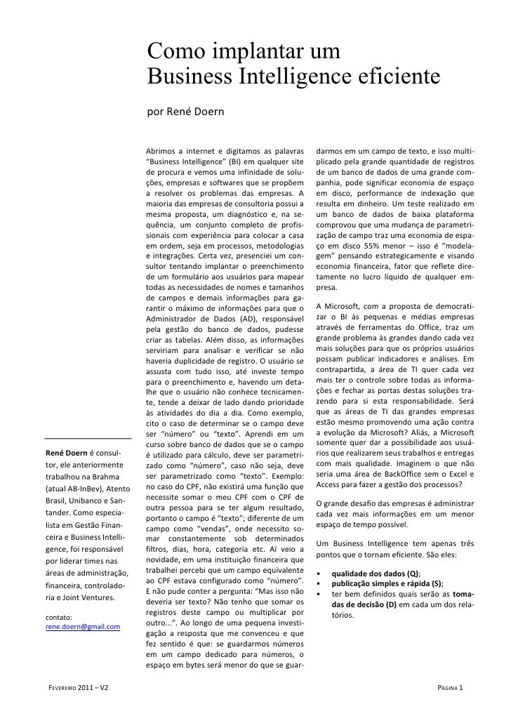 Como implantar um                            Business Intelligence eficiente                            por René Doern    ...