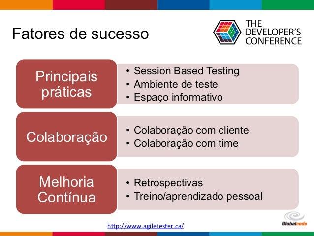Globalcode  –  Open4education Fatores de sucesso • Session Based Testing • Ambiente de teste • Espaço informativo P...