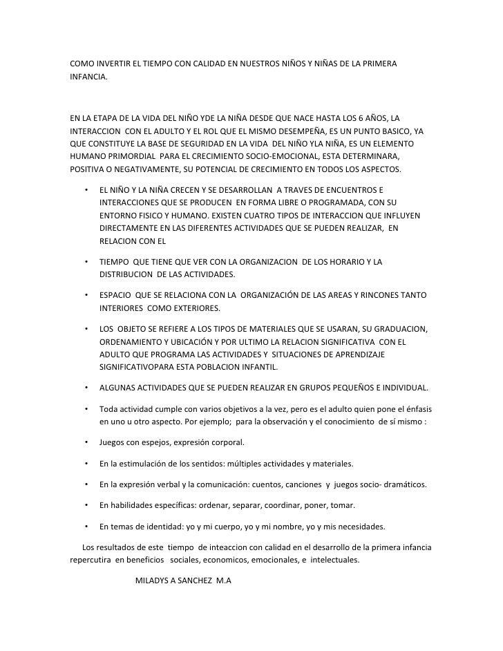 COMO INVERTIR EL TIEMPO CON CALIDAD EN NUESTROS NIÑOS Y NIÑAS DE LA PRIMERAINFANCIA.EN LA ETAPA DE LA VIDA DEL NIÑO YDE LA...
