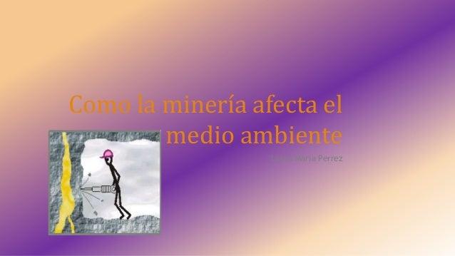 Como la minería afecta el medio ambiente Laura Maria Perrez