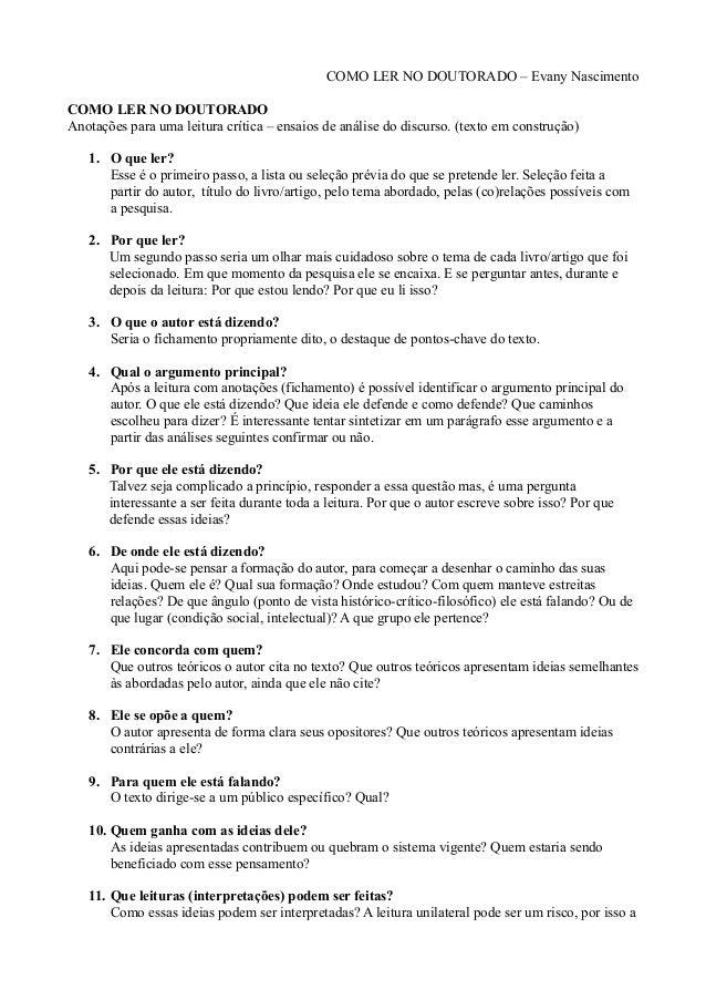 COMO LER NO DOUTORADO – Evany Nascimento COMO LER NO DOUTORADO Anotações para uma leitura crítica – ensaios de análise do ...