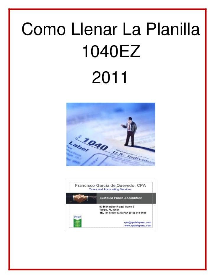 Como Llenar La Planilla      1040EZ         2011