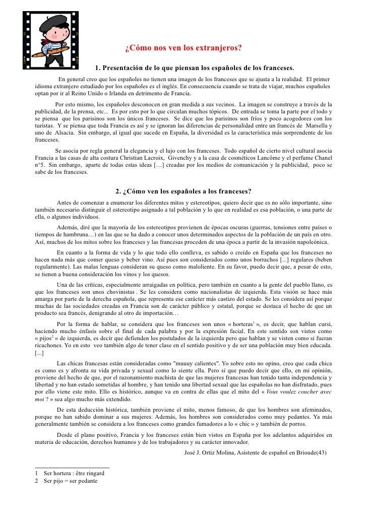 ¿Cómo nos ven los extranjeros?                        1. Presentación de lo que piensan los españoles de los franceses.   ...