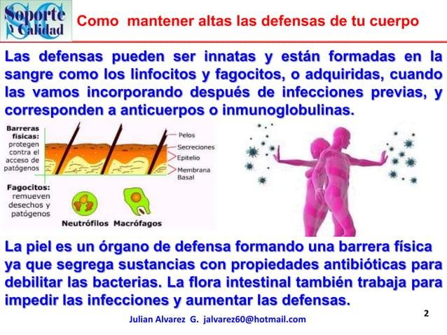 Como mantener altas las defensas de tu cuerpoLas defensas pueden ser innatas y están formadas en lasangre como los linfoci...