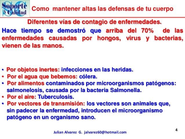 Como mantener altas las defensas de tu cuerpo        Diferentes vías de contagio de enfermedades.Hace tiempo se demostró q...