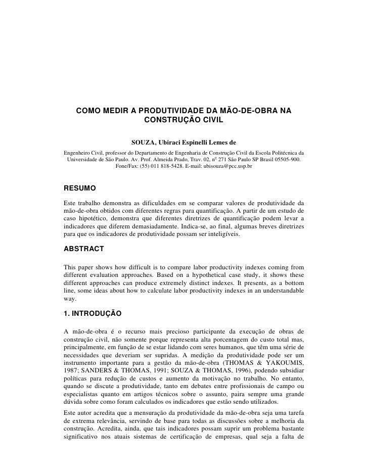 COMO MEDIR A PRODUTIVIDADE DA MÃO-DE-OBRA NA                   CONSTRUÇÃO CIVIL                            SOUZA, Ubiraci ...