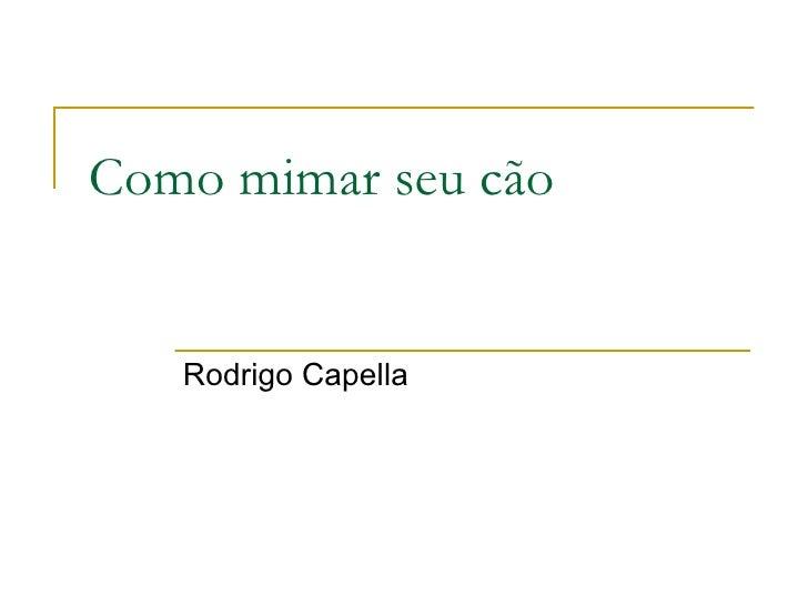 Como mimar seu cão Rodrigo Capella