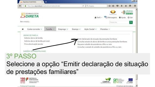 """3º PASSO Selecione a opção """"Emitir declaração de situação de prestações familiares"""""""
